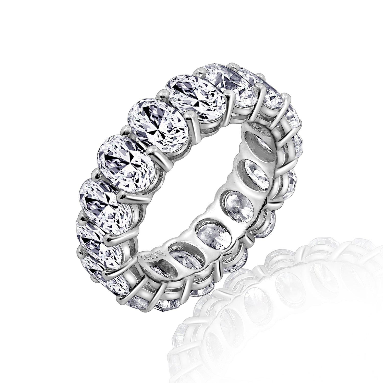 Diamonbliss Platinum Clad Cubic Zirconia 100-Facet Oval Eternity Band Ring GEMOUR