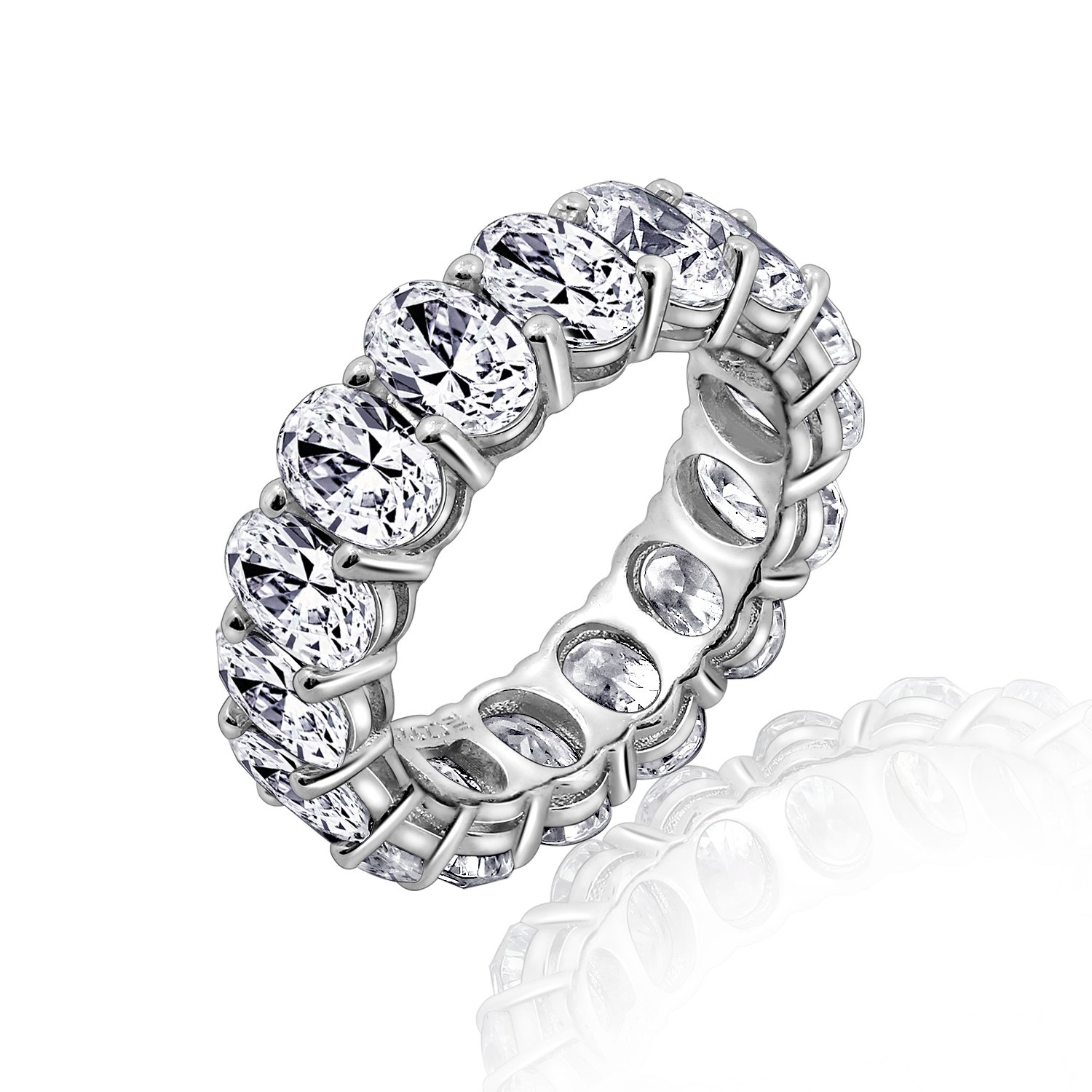 Diamonbliss Platinum Clad Cubic Zirconia 100-Facet Oval Eternity Band Ring, Size 8