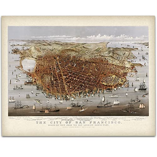 Amazon.com: 1878 San Francisco California Panoramic Map Art Print ...