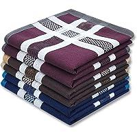 Soft Men's Cotton Handkerchiefs with Assorted Color 6 Piece Gift Set by Zenssia