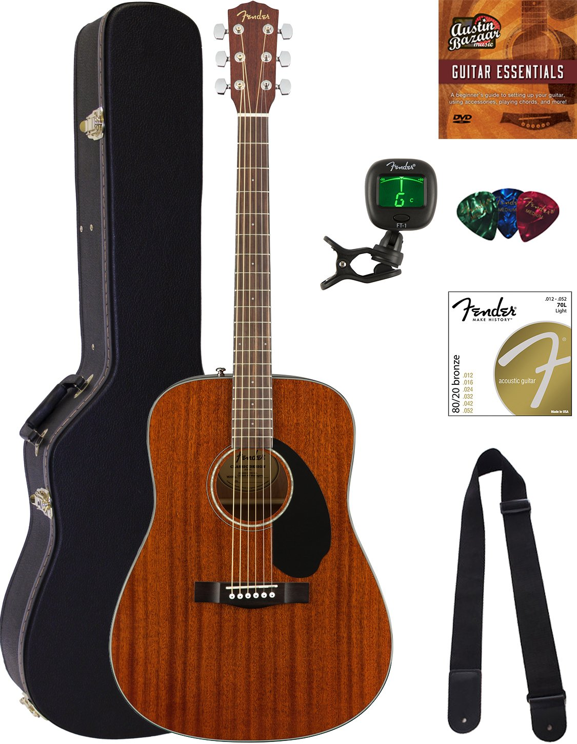 Fender CD-60S Dreadnought Acoustic Guitar - All Mahogany Bundle with Hard Case, Tuner, Strap, Strings, Picks, Austin Bazaar Instructional DVD, and Polishing Cloth by Fender