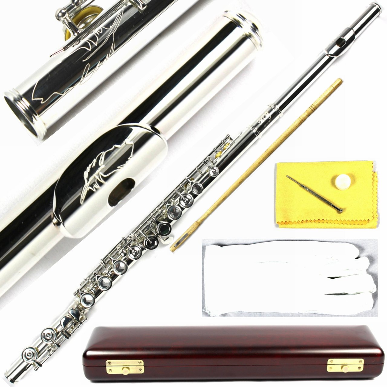 Engraved Design Wood Case Italian Pads 16 Keys Silver Plated Close Hole C Flute Moz-1951
