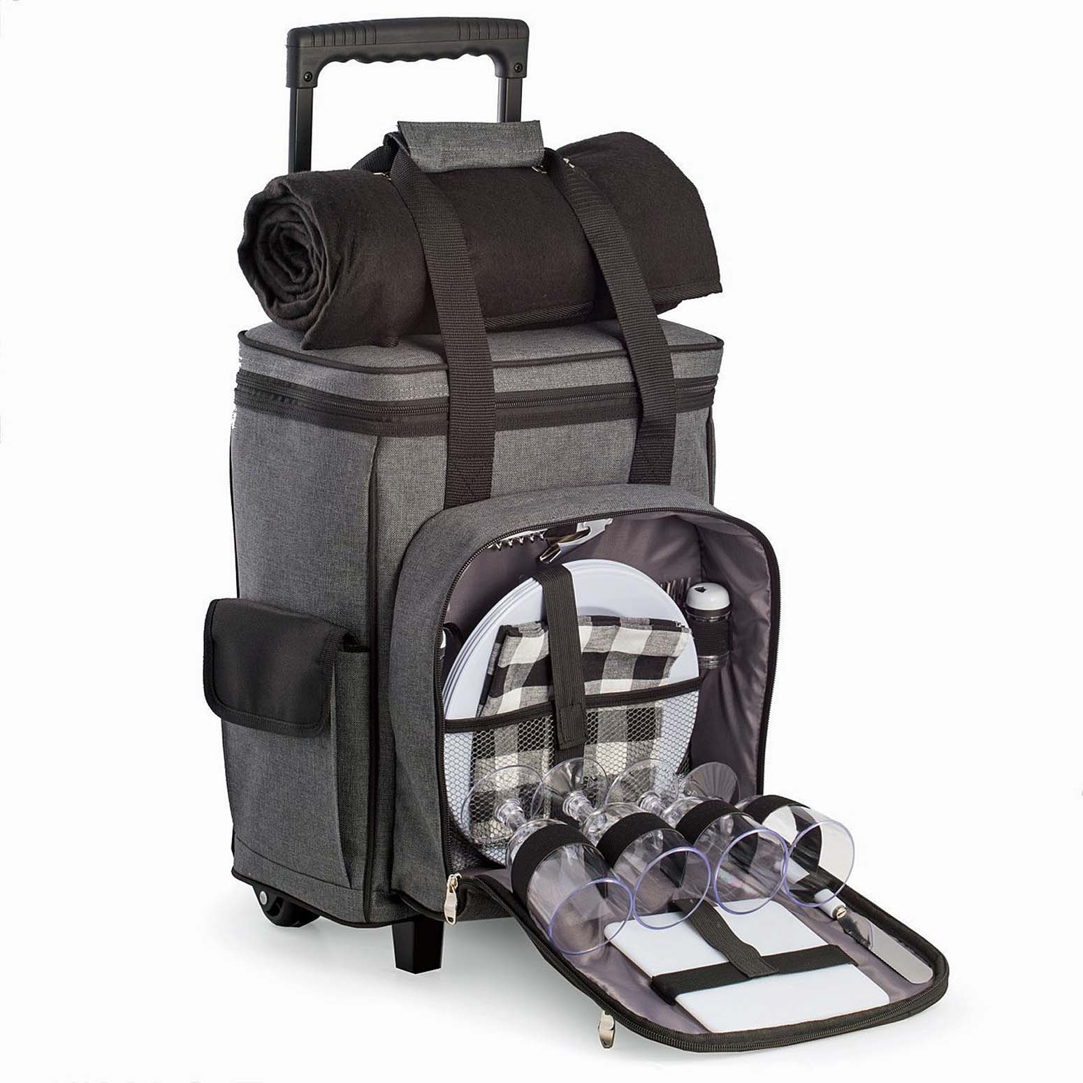 Kensington Row Home Collection - EPSOM DERBY 4-PERSON PICNIC TROLLEY WITH COOLER COMPARTMENT & FLEECE BLANKET