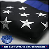 Thin Blue Line American Police Flag 3x5 ft: Made in USA - Embroidered Stars and Sewn Stripes with Grommets Black White and Blue USA Flags