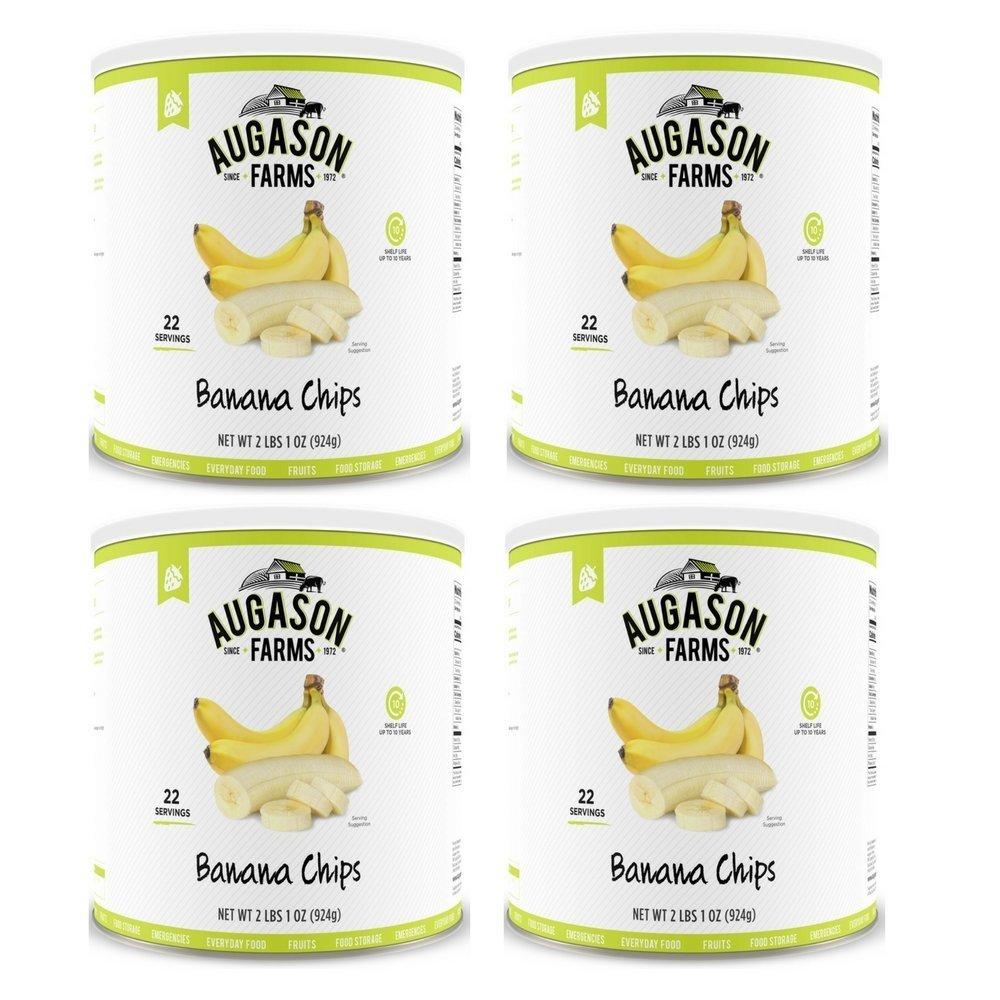 Augason Farms Banana Chips 2 lbs 1 oz No. 10 Can (4 Pack)