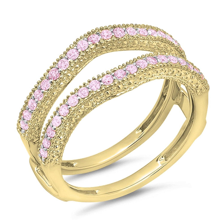 0.45 Carat (ctw) 14k Gold Pink Sapphire Diamond Ladies Wedding Band Millgrain Guard Double Ring 1/2 CT