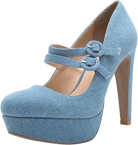 7a96c8411b9 Cambridge Select Women s Closed Round Toe 2 Buckled Strap Mary Jane Chunky Platform  High Heel Pump