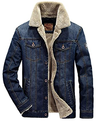 9c951321e7f Vcansion Men s Casual Sherpa Fleece Lined Jacket Winter Denim Coat Plus  Size Outerwear Dark Blue US