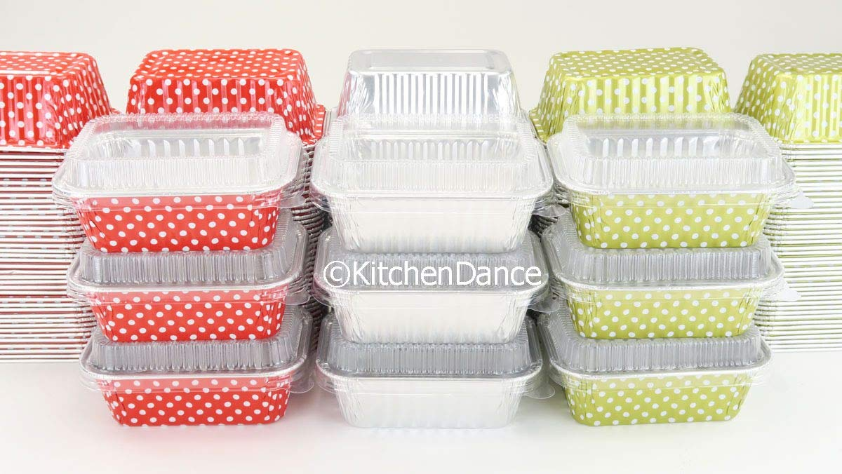 KitchenDance Disposable Aluminum Mini 6 Ounce Individual Sized Loaf Pans #4004 Color & Lid Options (Silver -with Lids, 100) by KitchenDance.com (Image #3)