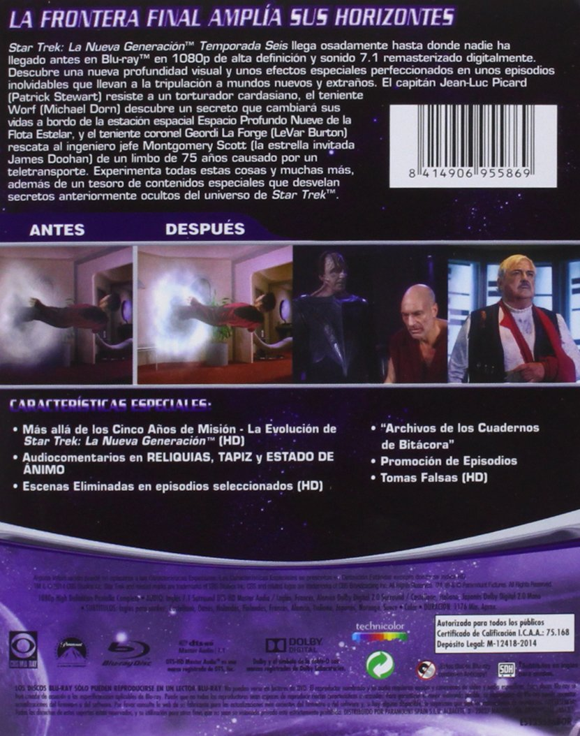 Star Trek: La Nueva Generación - Temporada 6 Blu-ray: Amazon.es ...