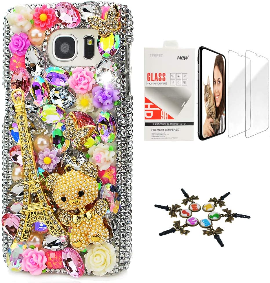STENES Sparkle Case Compatible with Samsung Galaxy J2 Prime - Stylish - 3D Handmade Bling Eiffel Tower Bear Rose Flowers Design Cover Case with Screen Protector [2 Pack] - Colorful