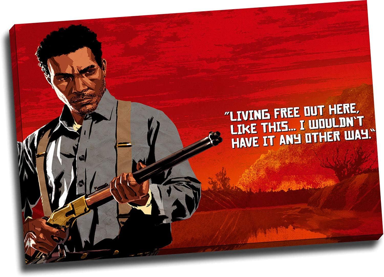ARYAGO Red Dead Redemption 2 - Póster enmarcado de 91 x 60 cm, diseño de videojuegos, diseño de Lenny Summers, decoración de pared para el hogar, estirado y listo para colgar: Amazon.es: Hogar
