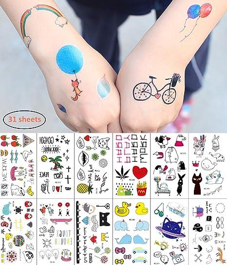 Pegatinas de Tatuajes temporales para niñas y niños, 31 Hojas Tatuajes para recompensas Escolares Juegos