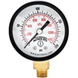 "Winters PEM Series Steel Dual Scale Economical All Purpose Pressure Gauge with Brass Internals, 0-200 psi/kpa, 2"" Dial Display, +/-3-2-3% Accuracy, 1/8"" NPT Bottom Mount"