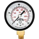 Winters PEM Series Steel Dual Scale Economical All Purpose Pressure Gauge with Brass Internals, 0-200 psi/kpa, 2' Dial…