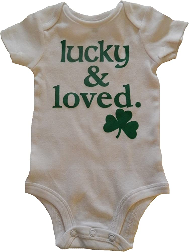 Distressed Four Leaf Clover Infant Baby Bodysuit Boys Girls St Patricks Day