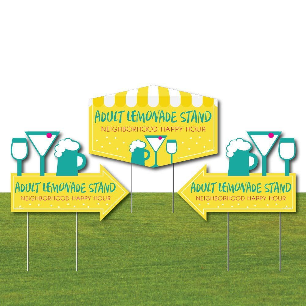 Big Dot of Happiness Adult Lemonade Stand - 2 Neighborhood Party Arrows and 1 Happy Hour Outdoor Lawn Sign - Doubled Sided Yard Signs - 3 Pieces