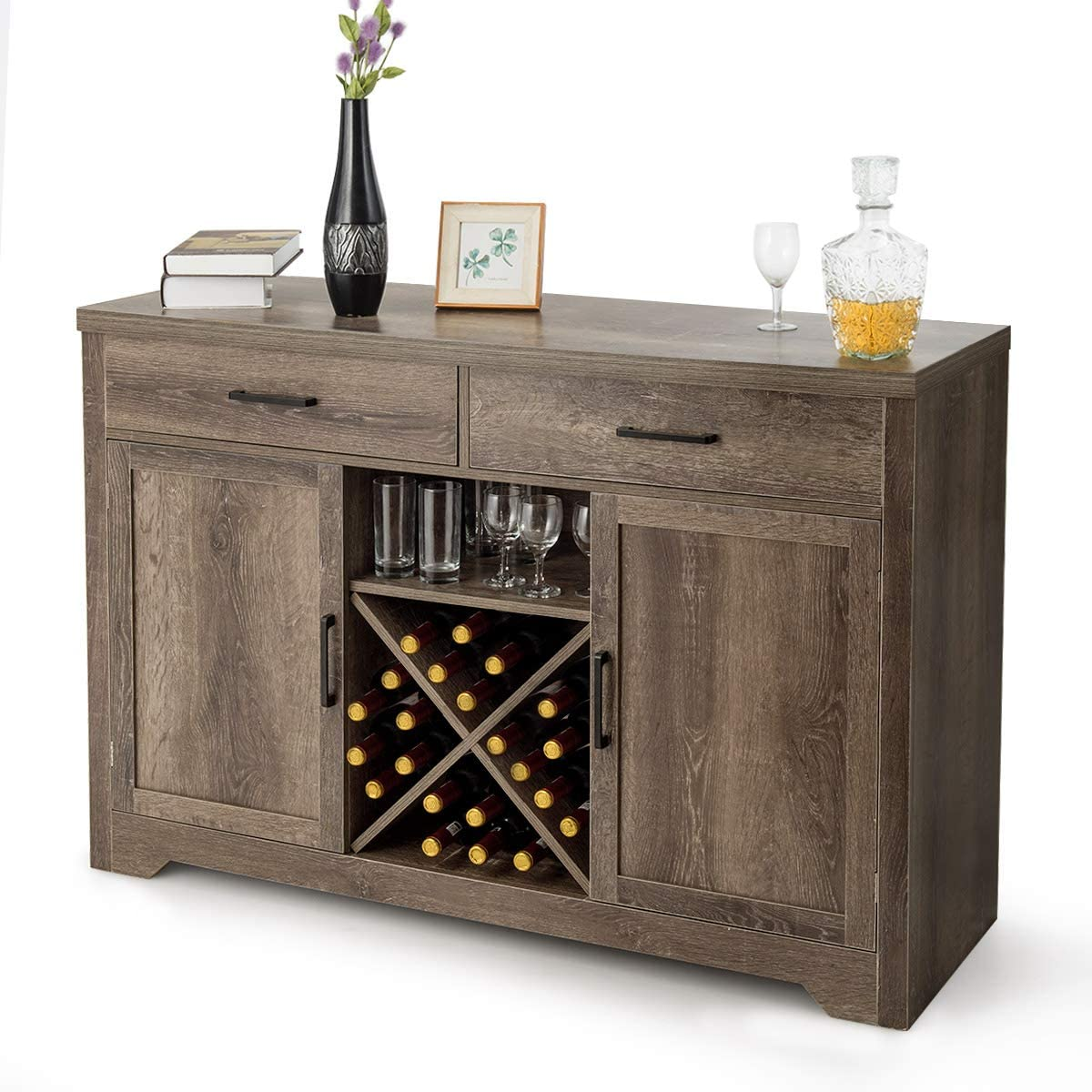 Giantex Buffet Sideboard Large Storage Cabinet with 2 Drawers 2 Cabinets Wine Shelf, Home Kitchen and Dining Room Furniture Console Table Natural