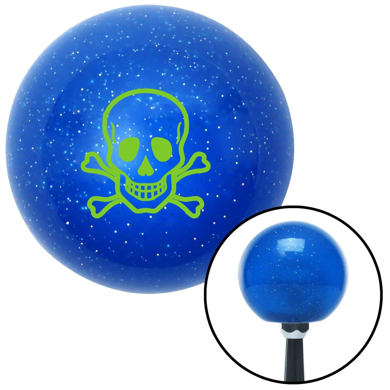 American Shifter 25679 Blue Metal Flake Shift Knob Green Skull n Cross Bones