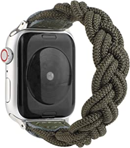Sufderny Braided Stretchy Nylon Loop Bands Compatible with Apple Watch Elastic Plaits Strap Wristband 44mm 42mm Series 6 5 4 3 2 1 SE, Army Green