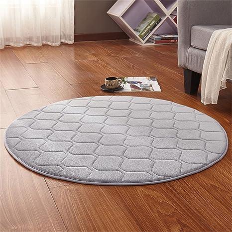 CAMAL Teppiche, Runde Waschbare Koralle Samt Dekorative Teppich Wohnzimmer  Schlafzimmer und Bad (120cm, Grau)