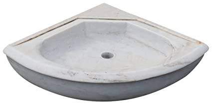 Lavandino ad angolo in marmo bianco L50xPR50xH15 cm: Amazon.it: Casa ...