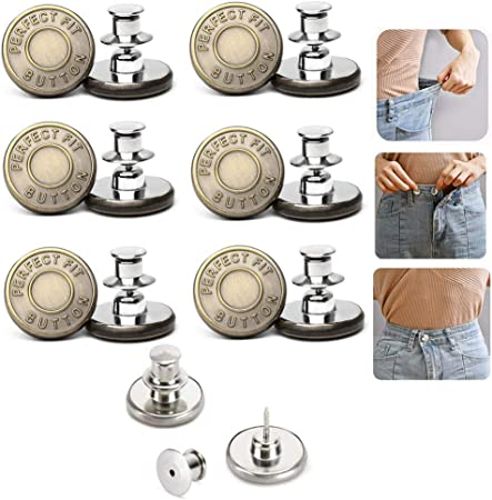 6PCS Perfect Fit Instant Button, Instant Buttons, Jean Replacement Buttons Removable Button No Sew Buttons to Extend or Reduce an Inch to Any Pants Waist in Seconds!