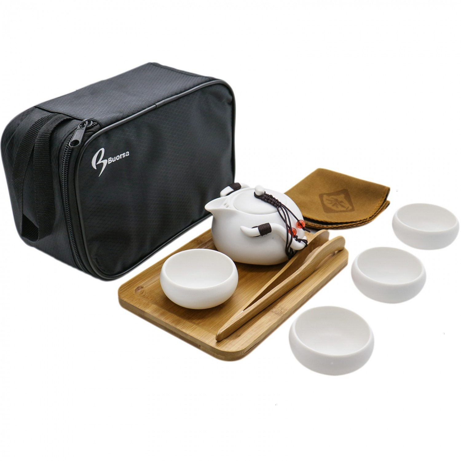 Buorsa 8 Pcs Portable Travel Tea Set Vintage Chinese / Japanese Style Porcelain Handmade Kung Fu Tea Set with a Travel Bag (4 Cups)