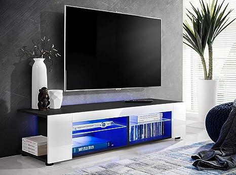 ExtremeFurniture T37 Meuble TV Carcasse en Noir Mat//Fa/çade en Blanc Brillant LED Bleues