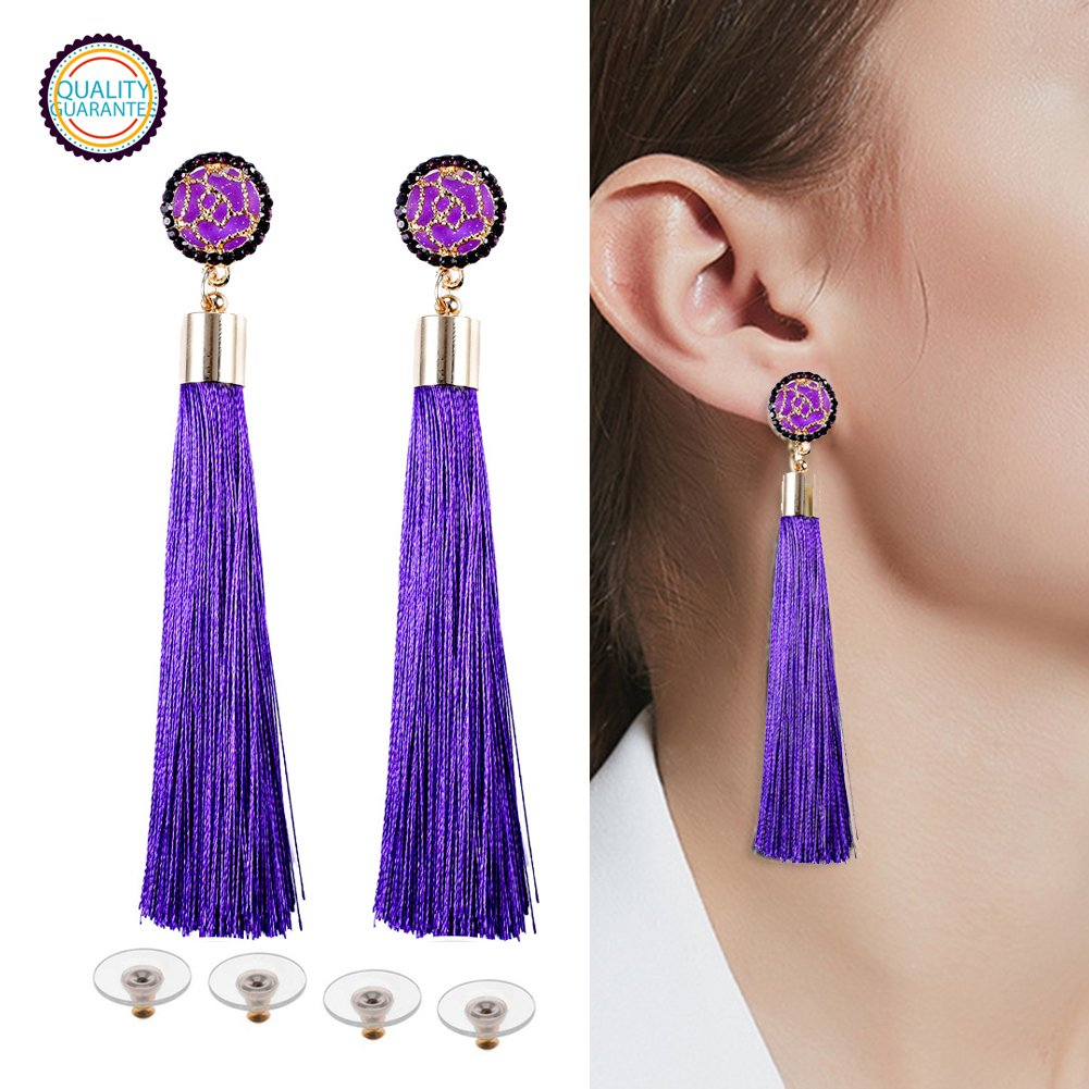 e3baf09e19e Amazon.com: HEKETEH Tassel Earrings Blue Pink White Black Red tassel ...