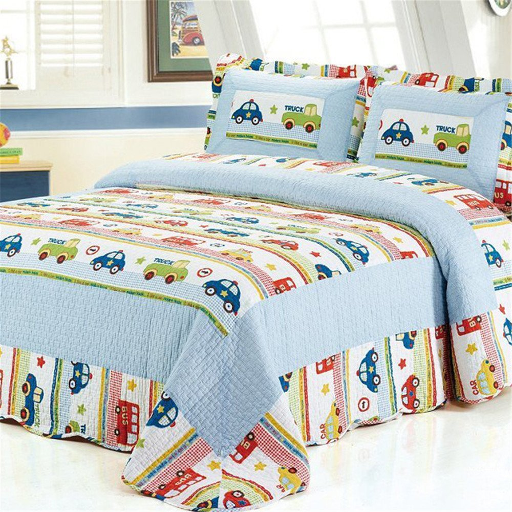 Abreeze Boys Multi Color Queen Transportation Themed Quilt Bedspread Car Trucks Vehicles Printed Bedding,Reversible Kids Bedding
