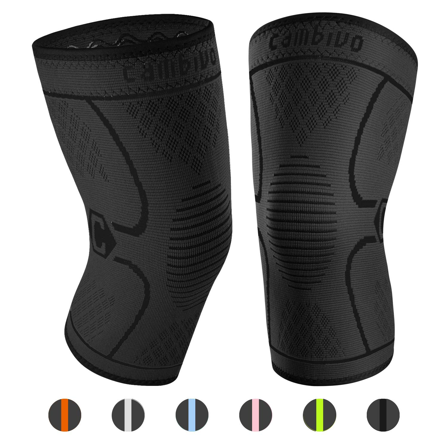 CAMBIVO 2 Pack Knee Brace, Knee Compression Sleeve Support for Running, Arthritis, ACL, Meniscus Tear, Sports, Joint Pain Relief and Injury Recovery (Small (14.5'' - 17''), Black/Black)