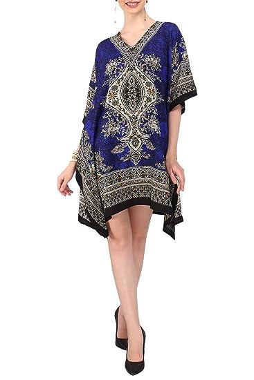 b7e14f4a96911 Miss Lavish Kaftan Kimono Tunic Evening Top Free Size Dress Blue ...