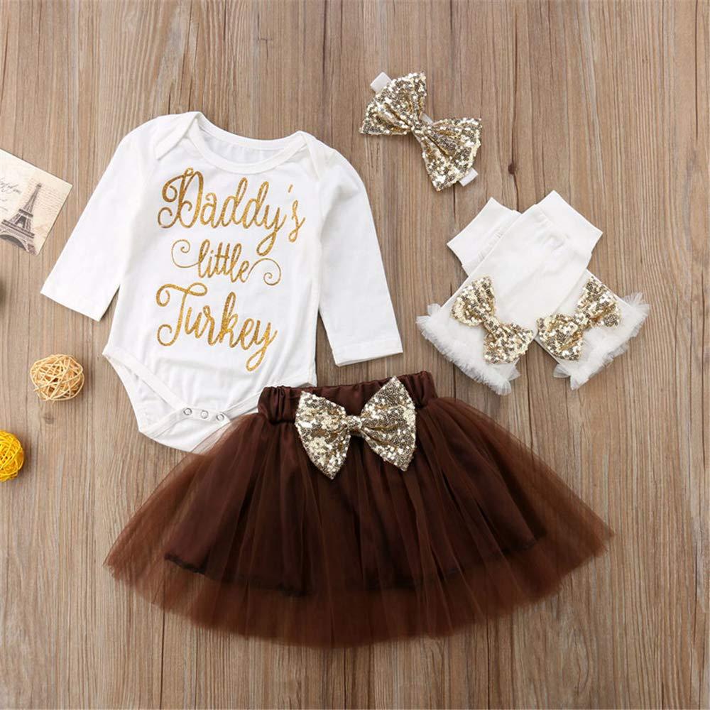 Leg Warmers Headband 4PCS Set Tutu Skirt Infant Baby Girls Thanksgiving Outfit Newborn Romper Tops