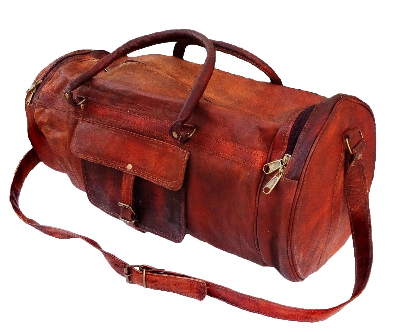 26'' Men's Genuine Leather Vintage Duffle Gym Large Travel Weekend Luggage Bag by jaald