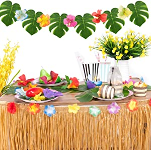 Joyclub Hawaiian Party Decorations with 9ft Hawaiian Luau Grass Table Skirt Tropical Palm Leaves Tropical Hibiscus Flowers (Green)