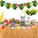 Joyclub Hawaiian Tropical Party Decorations with 9ft Hawaiian Luau Grass Table Skirt Palm Leaves and Hibiscus Flowers (Gold)
