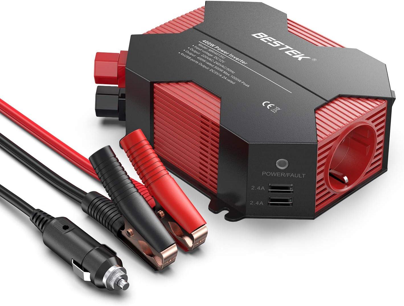 BESTEK MRI4013IU Inversor De Corriente 12v A 220v 400W, Convertidor 12v 220v Para Coche Con 4 Puertos USB Y 1 Toma 12V A 220V, Pinzas De Conexión A Batería, Adaptador De Mechero Encendedor De Coche