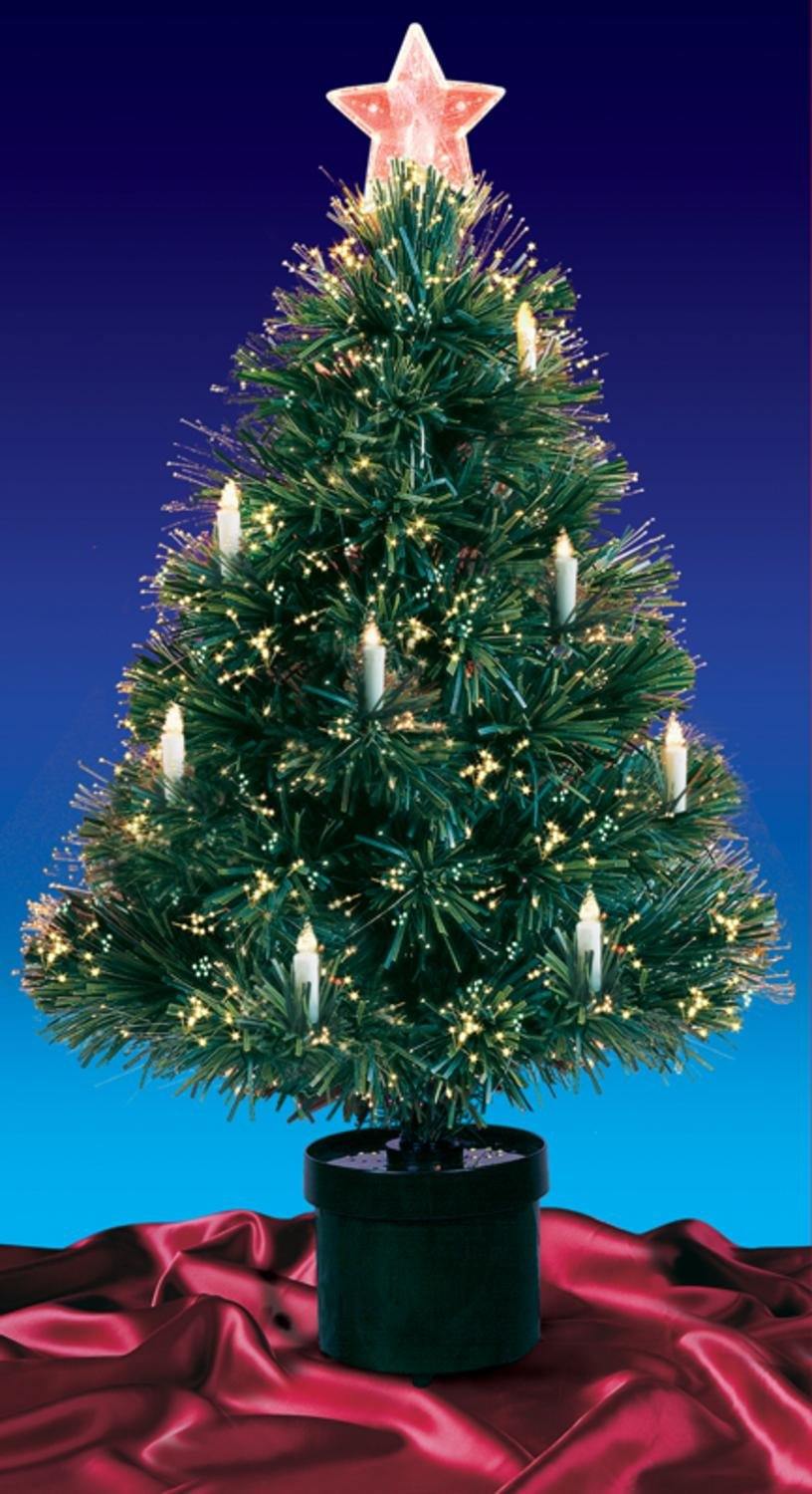 Amazon.com: 3\' Pre-Lit Fiber Optic Artificial Christmas Tree with ...
