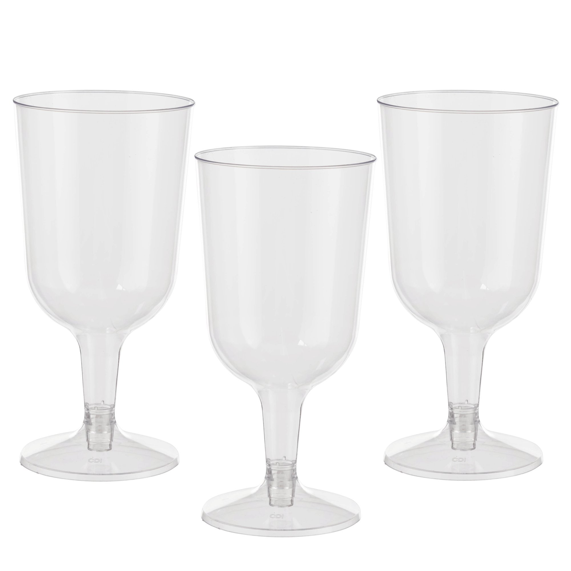 Exquisite 6 oz Clear Plastic Wine Glasses, 2 Piece Stemmed Plastic Wine Cups- 60 Count by Exquisite