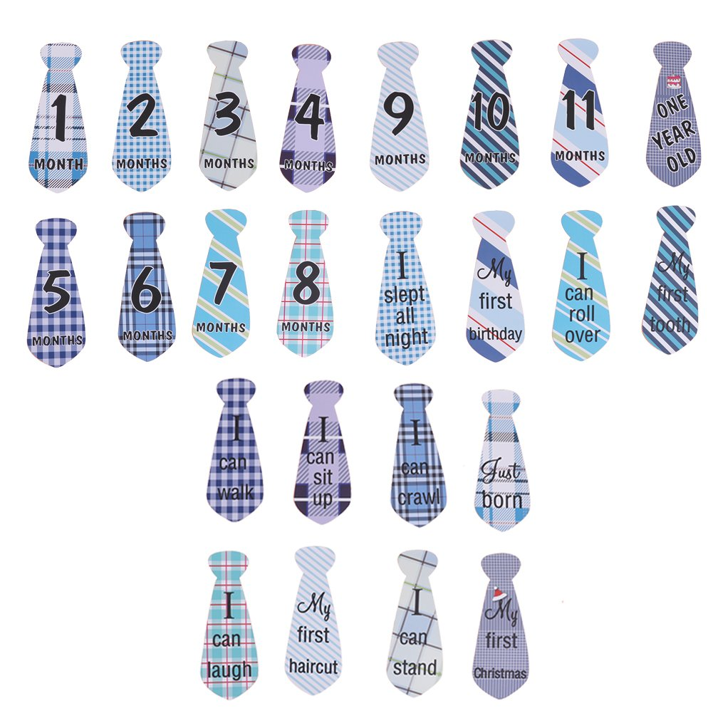 Looching Pack of 24 Lovely Baby Monthly Necktie Onesie Stickers 12 Months +12 Bonus Milestones Baby Belly?Tie