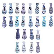Looching Pack of 24 Lovely Baby Monthly Necktie Onesie Stickers 12 Months +12 Bonus Milestones Baby Belly?Tie