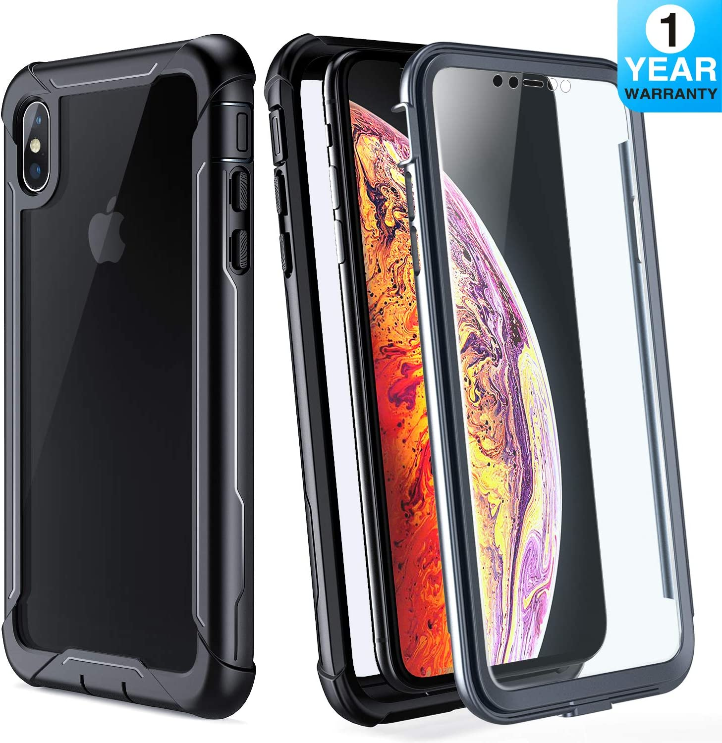 iPhone Xs Max Case - FITFORT Full Body Rugged Case with Built-in Touch Sensitive Anti-Scratch Screen Protector, Ultra Thin Clear Shock Drop Proof Impact Resist Extreme Durable Protective Cover