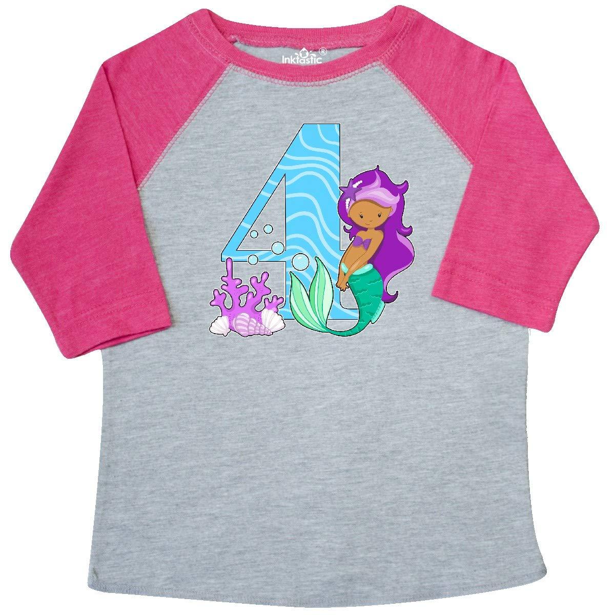 inktastic Fourth Birthday Mermaid Toddler T-Shirt