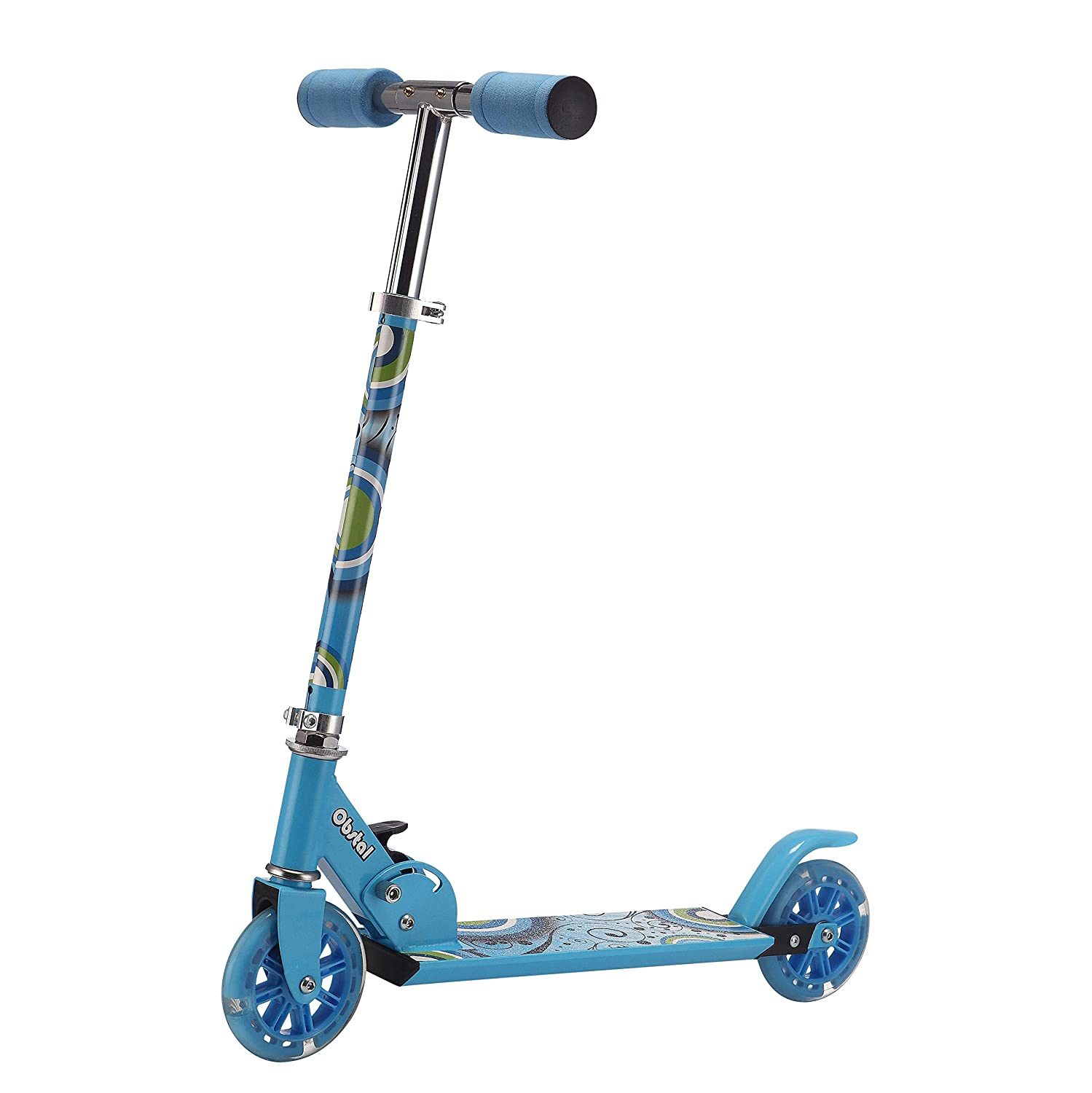 Obstal Kick Scooter for Kids Double /& Three Wheels Adjustable Height Folding T-bar with Flashing Wheels