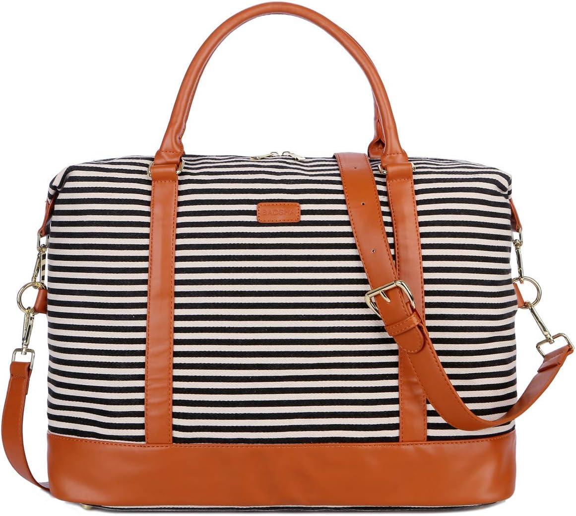 BAOSHA HB-28 Ladies Women Canvas Travel Weekender Bag Overnight Carry-on Duffel Tote Bag (Black)