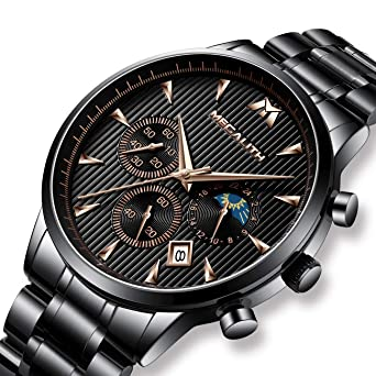8990194ef4eb7 Herren Uhren Männer Militär Wasserdicht Chronograph Datum Schwarz Edelstahl  Armbanduhr Mann Luxus Business Design Classic Analog Quartz Uhr  Amazon.de   ...