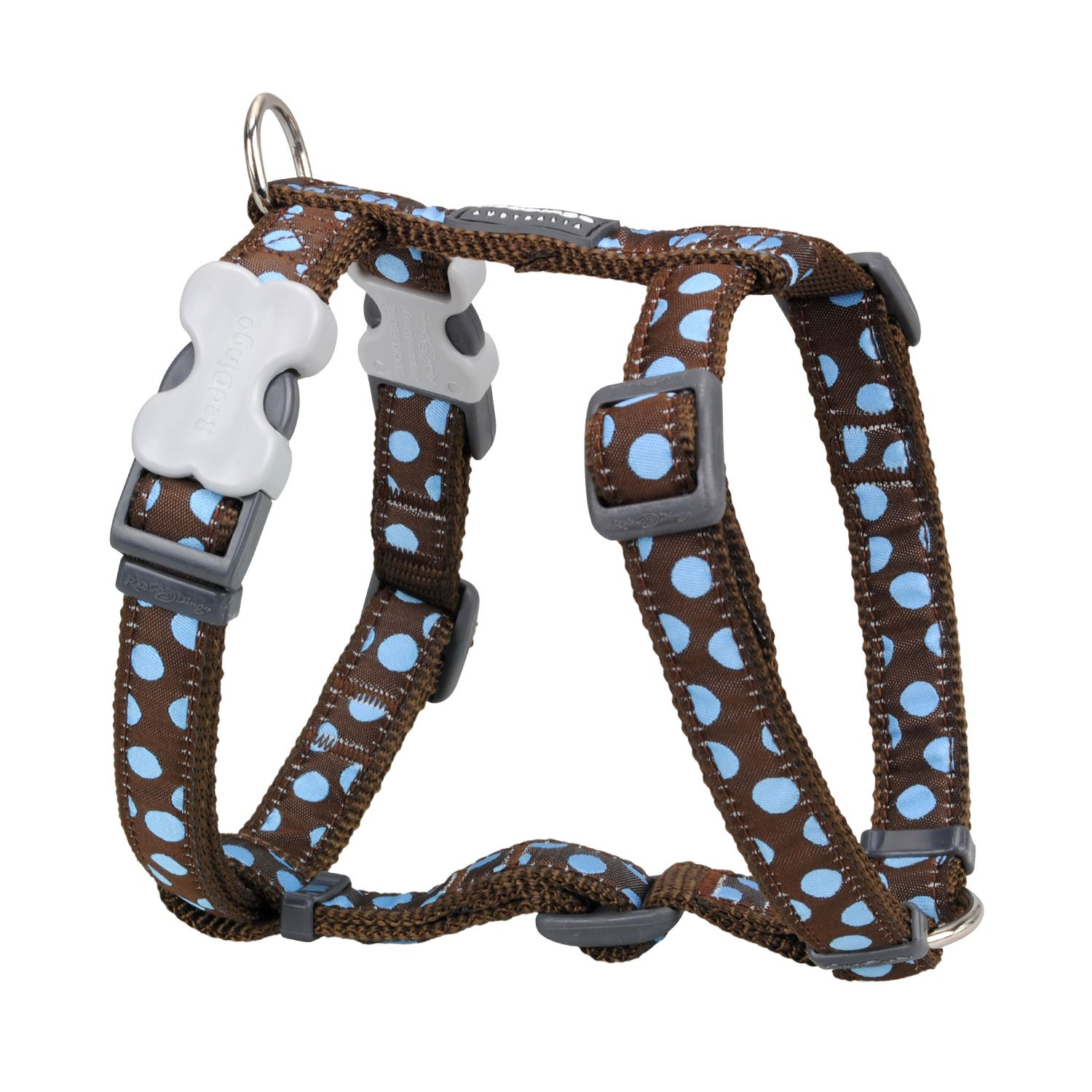 Red Dingo Designer Dog Harness, Small, bluee Spots on Brown