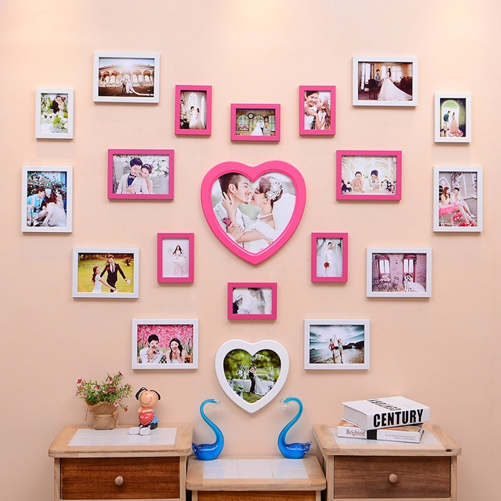Photo Wall, Creative Living Room Wedding Photo Wall, Love-shaped Children Bedroom Photo Frame Wall Frame Wall Combination ( Color : 1# )