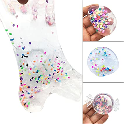 Diy Ice Cream Color Random Single Crystal Mud Slime Toy For Kids With Colored Foam Balls Clear Fluffy Clay Adults Anti-stress Modeling Clay